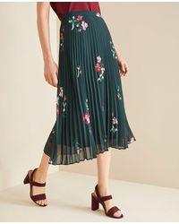 Ann Taylor Petite Floral Micro Pleat Skirt - Green