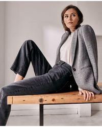 Ann Taylor Tall Curvy Sculpting Pocket Easy Straight Jeans In Dark Grey Wash