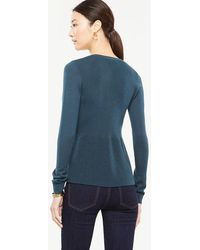 Ann Taylor V-neck Long Sleeve Peplum Jumper - Blue