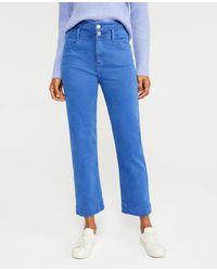 Ann Taylor Sculpting Pocket Corset High Waist Straight Jeans - Blue