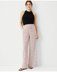 Ann Taylor The Petite Printed Wide Leg Palazzo Pant - Pink