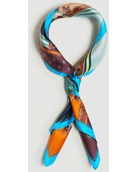 Ann Taylor Equestrian Silk Little Scarf - Blue