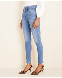 Ann Taylor Curvy High Rise Sculpting Pocket Skinny Jeans In Light Stone Wash - Blue