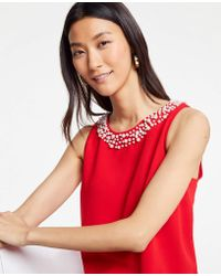 Ann Taylor - Petite Pearlized Neck Shell - Lyst