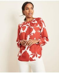 Ann Taylor Floral Shirred Neck Blouse
