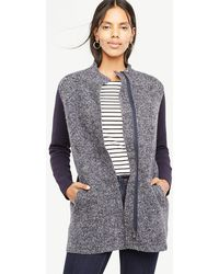 Ann Taylor | Petite Merino Wool Paneled Coatigan | Lyst
