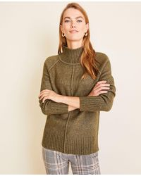 Ann Taylor - Seamed Turtleneck Tunic Sweater - Lyst