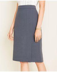 Ann Taylor Petite Doubleweave Slit Skirt - Blue