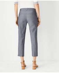 Ann Taylor The Chambray Cotton Crop Pant - Blue