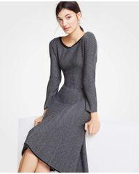Ann Taylor Petite Herringbone Flounce Jumper Dress - Black