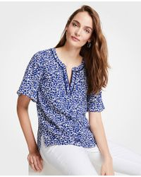 Ann Taylor - Petite Floral Tipped Split Neck Tee - Lyst