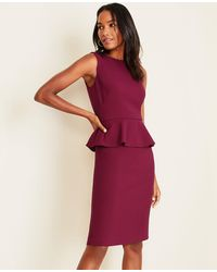 Ann Taylor Doubleweave Peplum Sheath Dress - Red