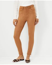 Ann Taylor Petite Sculpting Pocket Faux Suede High Rise Skinny Jeans In Toasted Coconut - Multicolour