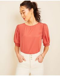 Ann Taylor - Petite Tie Back Puff Sleeve Top - Lyst