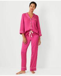 Ann Taylor Tipped Pyjama Set - Pink