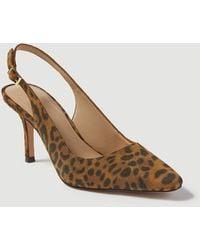 Ann Taylor Evita Leopard Print Suede Slingback Court Shoes - Brown