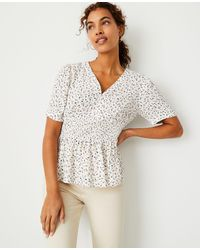 Ann Taylor Floral Smocked Waist Top - White