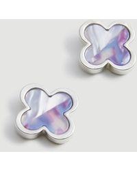 Ann Taylor Two Tone Clover Stud Earrings - Metallic