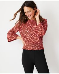 Ann Taylor Floral Bell Sleeve Smocked Waist Top - Red