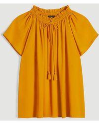 Ann Taylor Tasselled Tie Neck Flutter Sleeve Top - Yellow