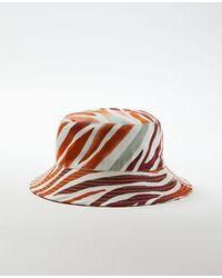 Ann Taylor Zebra Stripe Bucket Hat - Red