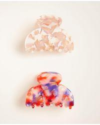 Ann Taylor Tortoiseshell Print Hair Clip Set - Red