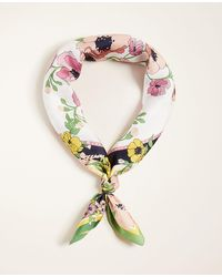 Ann Taylor Floral Silk Little Scarf - Multicolour