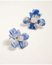 Ann Taylor Tortoiseshell Print Flower Stud Earrings - Metallic