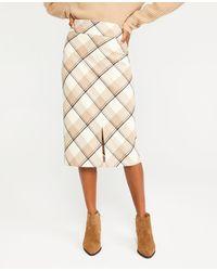 Ann Taylor Plaid Belted High Waist Pencil Skirt - Natural