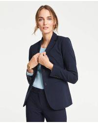 Ann Taylor The Petite Long Two-button Blazer In Seasonless Stretch - Blue