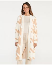 Ann Taylor Houndstooth Long Open Cardigan - Multicolour