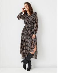 Ann Taylor Heart Chain Midi Flare Dress - Black