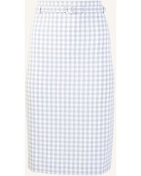 Ann Taylor Gingham Belted Pencil Skirt - White