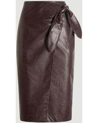 Ann Taylor Faux Leather Wrap Pencil Skirt - Brown