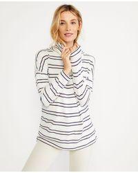 Ann Taylor Striped Funnel Neck Tunic - White