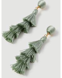 Ann Taylor Tiered Thread Statement Earrings - Green