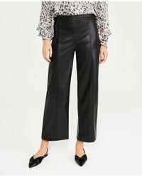 Ann Taylor The Petite Faux Leather Wide Leg Crop Pant - Black