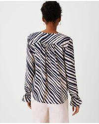 Ann Taylor Zebra Stripe Lapel Tie Neck Blouse - Multicolour