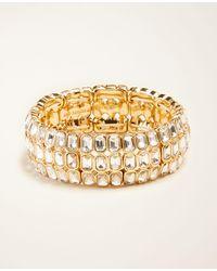 Ann Taylor - Rectangle Crystal Stretch Bracelet - Lyst
