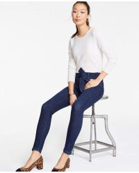 Ann Taylor - Tie Waist Skinny Jeans - Lyst
