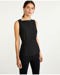 Ann Taylor The Petite Belted Shell In Doubleweave - Black