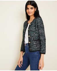 Ann Taylor Gilded Button Tweed Jacket - Green