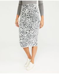Ann Taylor Petite Leopard Print Jumper Pencil Skirt - Grey