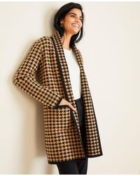 Ann Taylor Houndstooth Coatigan - Natural