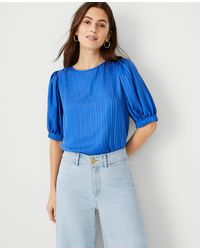 Ann Taylor - Tie Back Puff Sleeve Top - Lyst