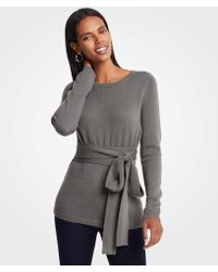Ann Taylor - Cashmere Belted Sweater - Lyst