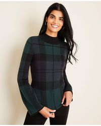 Ann Taylor Blackwatch Plaid Flare Sleeve Jumper - Blue