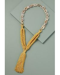 Anthropologie Mixed-media Tasselled Necklace - Yellow