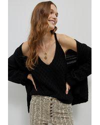 Anthropologie Fenna Textured Knit Tank - Black
