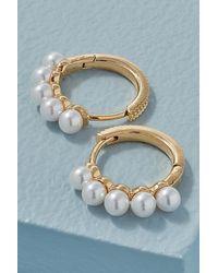 Anthropologie Faux-pearl Huggie Hoop Earrings - Metallic